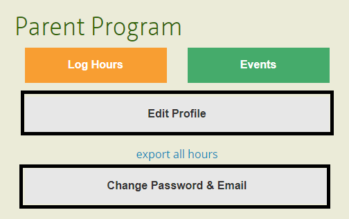 Manage volunteer profile data and login credentials for your user account