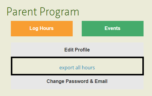 Export hours from your volunteer account
