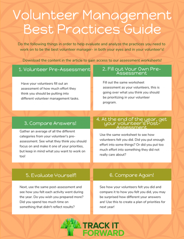 Volunteer Management Best Practices   1. Volunteer Pre-assesment 2. Manager Pre-assessment 3. Combine 4. Volunteer Post-assessment 5. Manager Post-assessment 6. Combine!