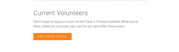 screenshot from North Carolina Museum of Life and Sciences showing the embed for current volunteers to log their hours on the website.