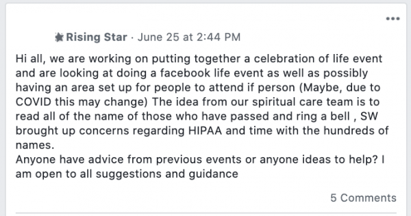 Facebook post in volunteer resource community stating: