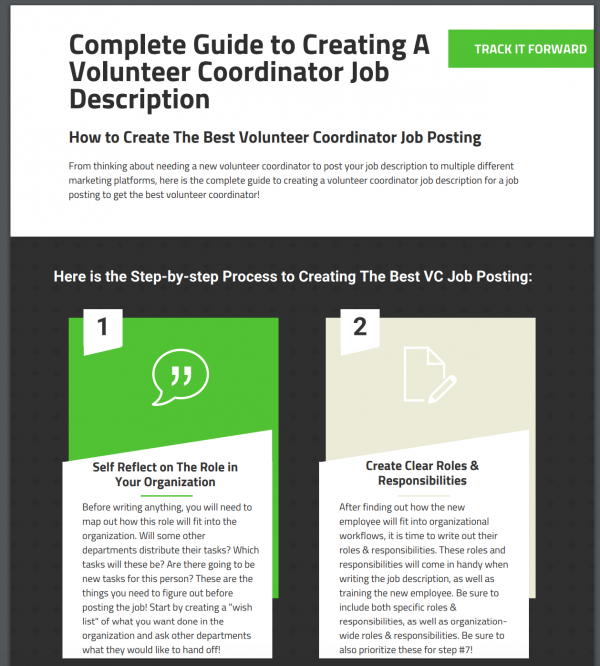 Screenshot of the 'complete guide to creating a volunteer coordinator job description