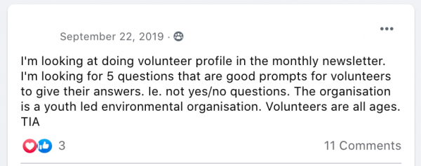 I'm looking at doing volunteer profile in the monthly newsletter. I'm looking for 5 questions that are good prompts for volunteers to give their answers. Ie. not yes/no questions. The organisation is a youth led environmental organisation. Volunteers are all ages.