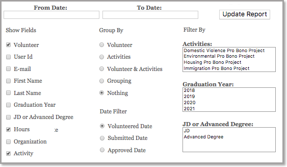 report categorizing for volunteer tracking software narrowing fields, groups and filters for tracked volunteer hours