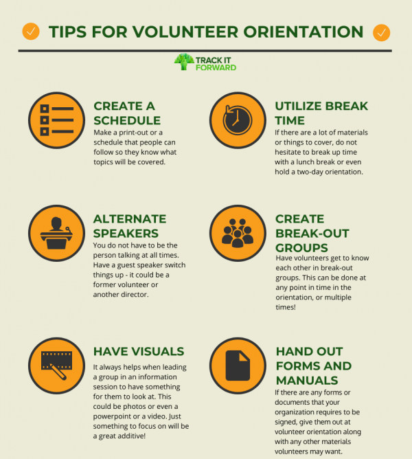 Tips for Volunteer Orientation:   - create a schedule - utilize break time - alternate speakers - create break-out groups - have visuals - hand out forms and manuals