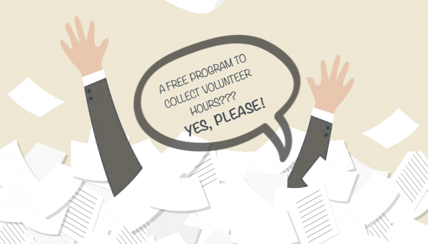 raised hand drowning in paperwork with caption of free program to help track volunteer hours