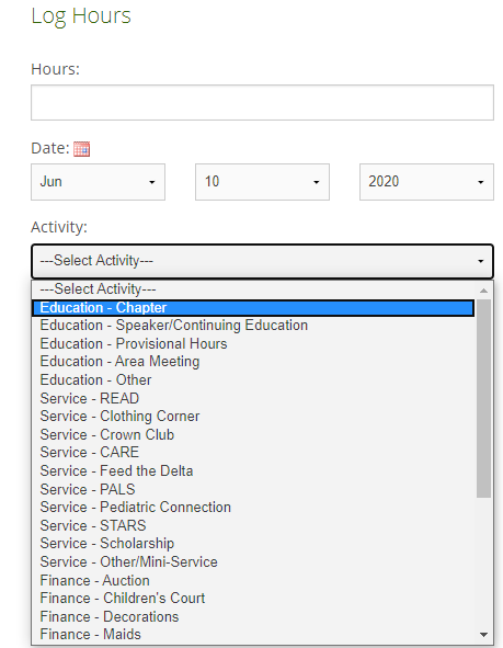 Junior Auxiliary of Greenwood screenshot of their hour log submission. There is a dropdown to explain the activity like education-chapter, service- BOOKS, service-STARS or finance. It shows the hour and project in the dropdown.