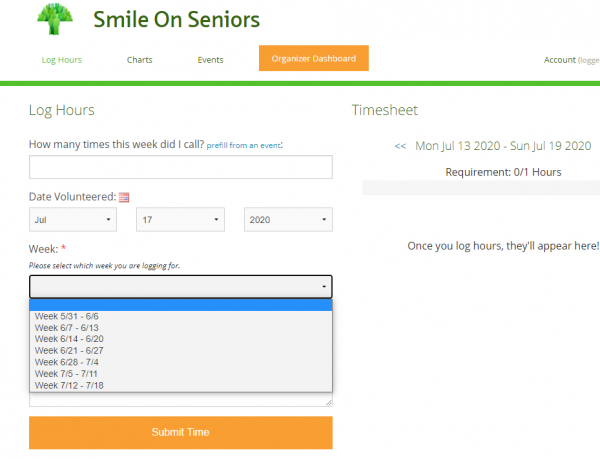 Smile On Seniors hour log on Track It Forward. Tracking phone calls to seniors by inputting one hour per week