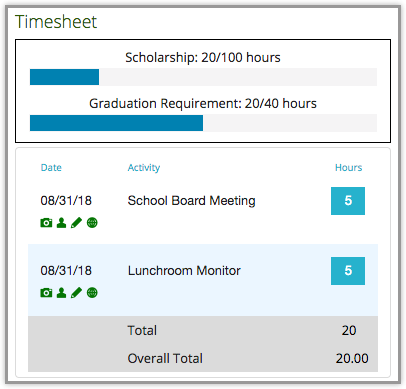 timesheet with requirement bar for volunteer requirement and volunteer tracing