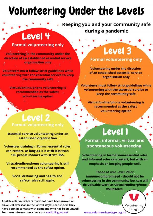 Level 4- formal volunteering only Level 3- Formal volunteering with less guidelines Level 2- Essential training  Level 1- formal, informal volunteering  Phases for volunteering to return