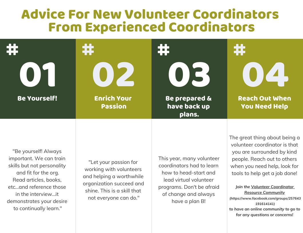 Advice For New Volunteer Coordinators From Experienced Coordinators  1. Be yourself -