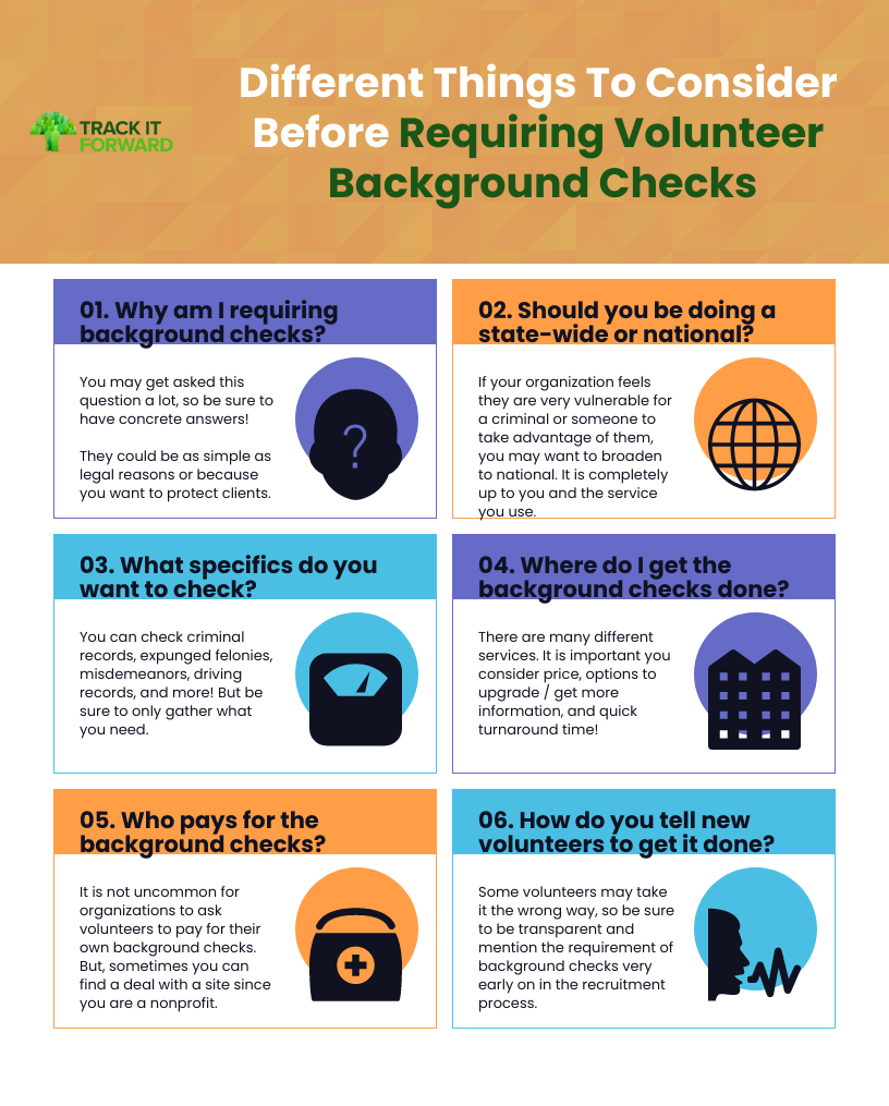 Different Things To Consider Before Requiring Volunteer Background Checks 01. Why am I requiring background checks? You may get asked this question a lot, so be sure to have concrete answers!    They could be as simple as legal reasons or because you want to protect clients.   02. Should you be doing a state-wide or national?  If your organization feels they are very vulnerable for a criminal or someone to take advantage of them, you may want to broaden to national. It is completely up to you and the service you use.   03. What specifics do you want to check?  You can check criminal records, expunged felonies, misdemeanors, driving records, and more! But be sure to only gather what you need.   04. Where do I get the background checks done?  There are many different services. It is important you consider price, options to upgrade / get more information, and quick turnaround time!  05. Who pays for the background checks? It is not uncommon for organizations to ask volunteers to pay for their own background checks. But, sometimes you can find a deal with a site since you are a nonprofit.   06. How do you tell new volunteers to get it done?  Some volunteers may take it the wrong way, so be sure to be transparent and mention the requirement of background checks very early on in the recruitment process.