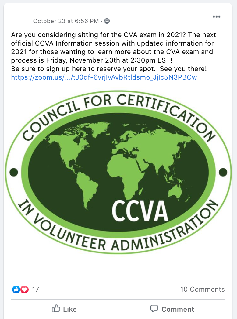 Are you considering sitting for the CVA exam in 2021? The next official CCVA Information session with updated information for 2021 for those wanting to learn more about the CVA exam and process is Friday, November 20th at 2:30pm EST! Be sure to sign up here to reserve your spot.  See you there!