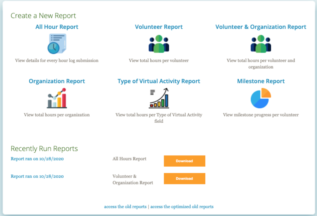 Create A New Report on Volunteer Software Reports By Track It forward   all hour report  volunteer report  volunteer & Organization report  Organization reprot  type of virtual activity report  milestone report  recently run reports