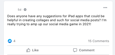 Does anyone have any suggestions for iPad apps that could be helpful in creating collages and such for social media posts? I'm really trying to amp up our social media game in 2021!