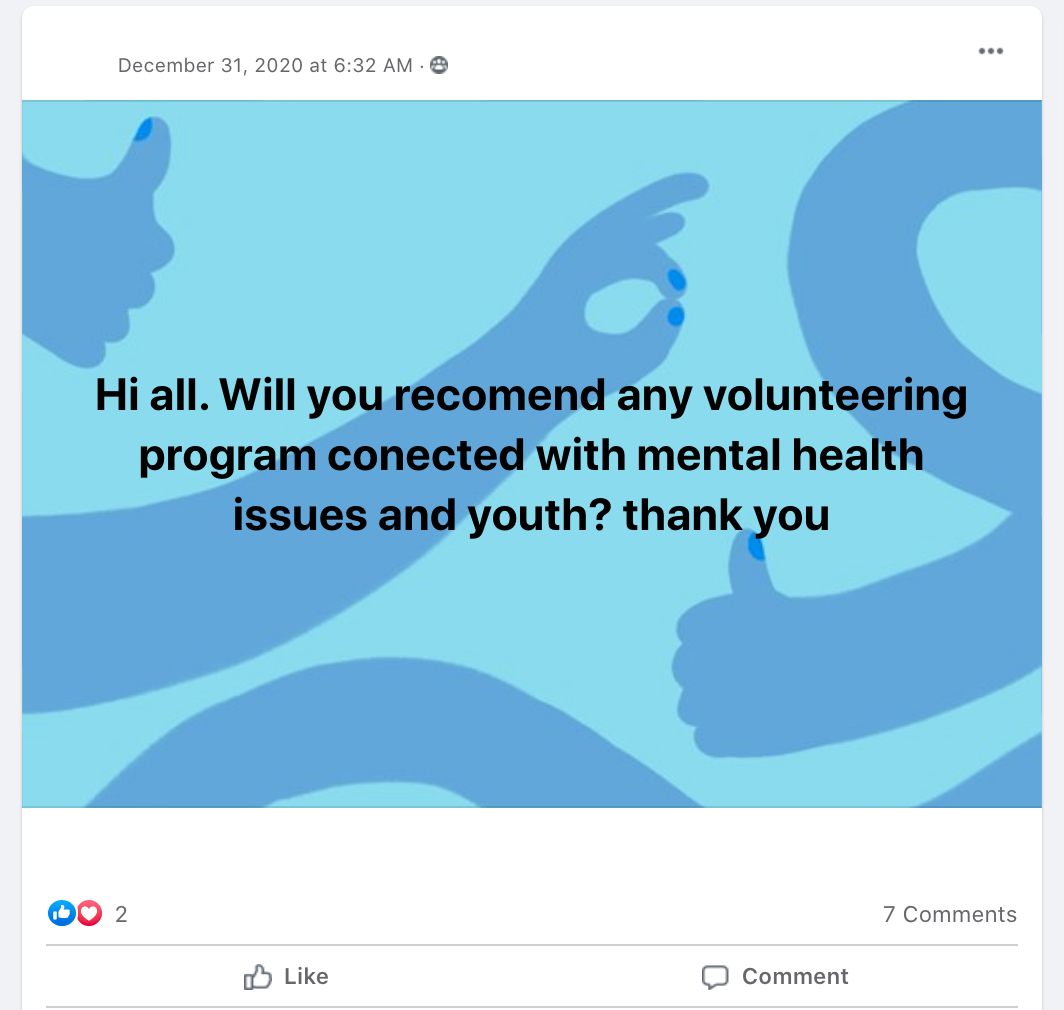 Hi all. Will you recomend any volunteering program conected with mental health issues and youth? thank you