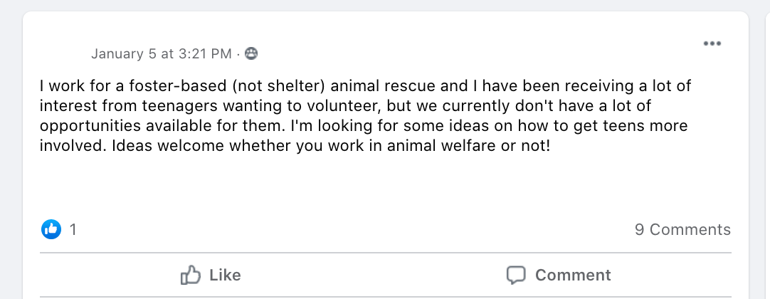 I work for a foster-based (not shelter) animal rescue and I have been receiving a lot of interest from teenagers wanting to volunteer, but we currently don't have a lot of opportunities available for them. I'm looking for some ideas on how to get teens more involved. Ideas welcome whether you work in animal welfare or not!