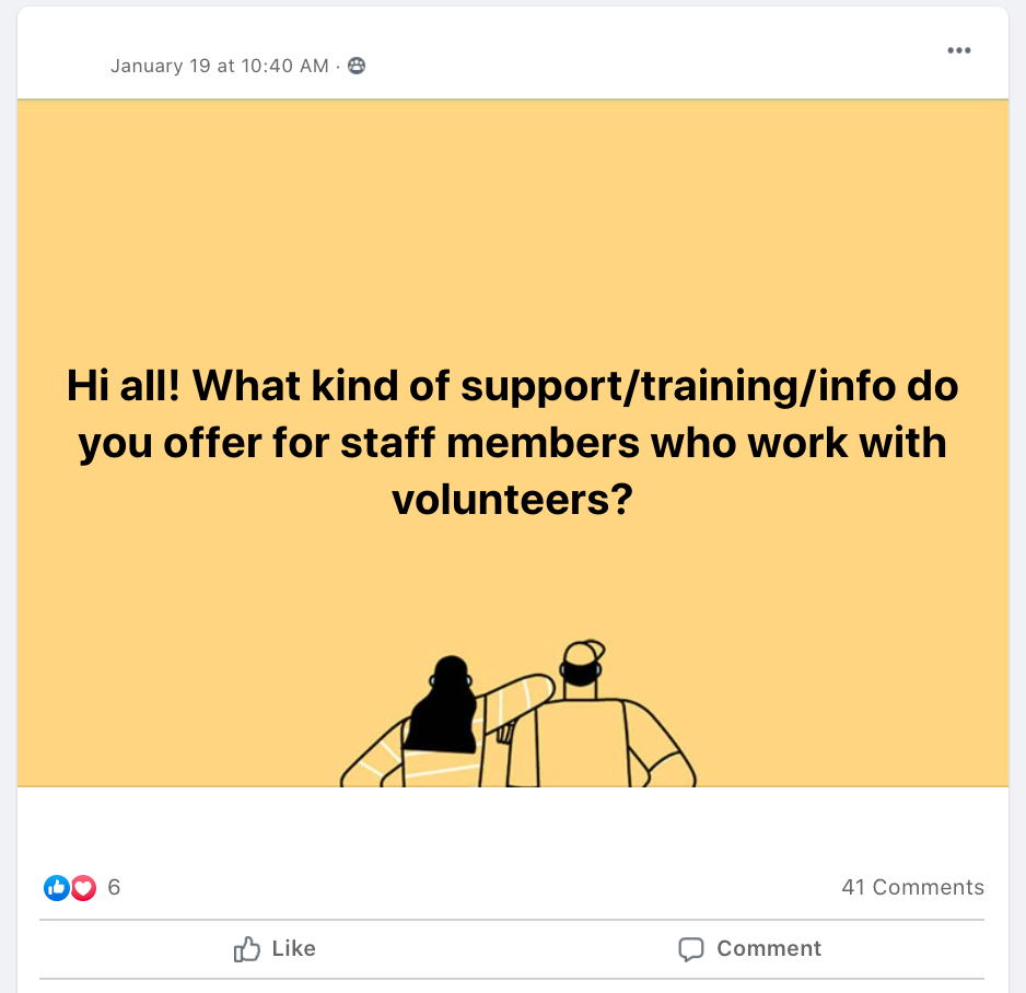 Hi all! What kind of support/training/info do you offer for staff members who work with volunteers?