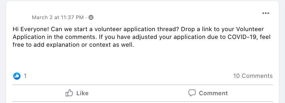 Hi Everyone! Can we start a volunteer application thread? Drop a link to your Volunteer Application in the comments. If you have adjusted your application due to COVID-19, feel free to add explanation or context as well.