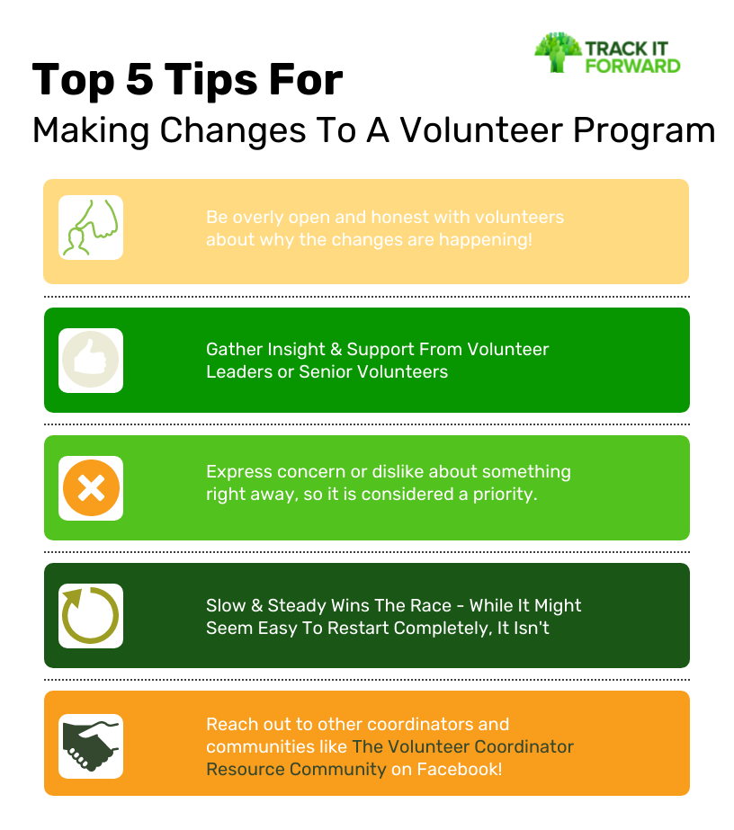 Top 5 Tips For  Making Changes To A Volunteer Program   Be overly open and honest with volunteers about why the changes are happening! Gather Insight & Support From Volunteer Leaders or Senior Volunteers Express concern or dislike about something right away, so it is considered a priority. Slow & Steady Wins The Race - While It Might Seem Easy To Restart Completely, It Isn't Reach out to other coordinators and communities like The Volunteer Coordinator Resource Community on Facebook!