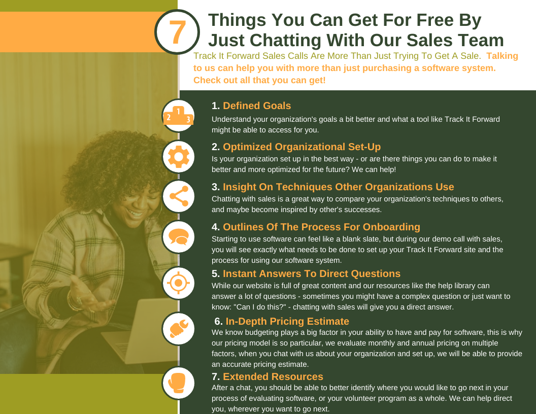 Things You Can Get For Free By Just Chatting With Our Sales Team   Track It Forward Sales Calls Are More Than Just Trying To Get A Sale.  Talking to us can help you with more than just purchasing a software system. Check out all that you can get!   1. defined goals  Understand your organization's goals a bit better and what a tool like Track It Forward might be able to access for you.   2. optimized organizational set up  Is your organization set up in the best way - or are there things you can do to make it better and more optimized for the future? We can help!   3. insight on techniques other organizations use   Chatting with sales is a great way to compare your organization's techniques to others, and maybe become inspired by other's successes.   4. Outlines of the process of onboarding  Starting to use software can feel like a blank slate, but during our demo call with sales, you will see exactly what needs to be done to set up your Track It Forward site and the process for using our software system.   5. Instant answers to direct questions  While our website is full of great content and our resources like the help library can answer a lot of questions - sometimes you might have a complex question or just want to know: