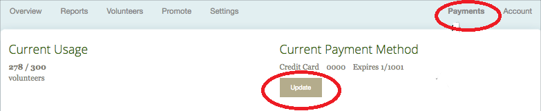 update payment page