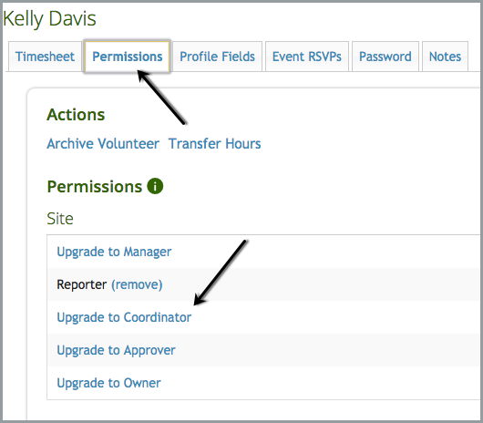 screenshot showing actions and permissions on track it forward website as an admin