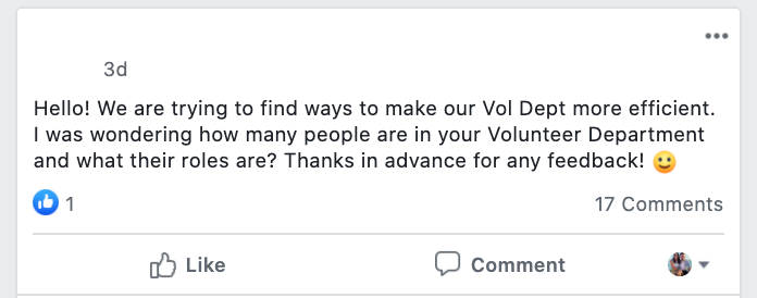 Hello! We are trying to find ways to make our Vol Dept more efficient. I was wondering how many people are in your Volunteer Department and what their roles are? Thanks in advance for any feedback! :)