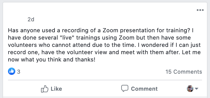 Has anyone used a recording of a Zoom presentation for training? I have done several
